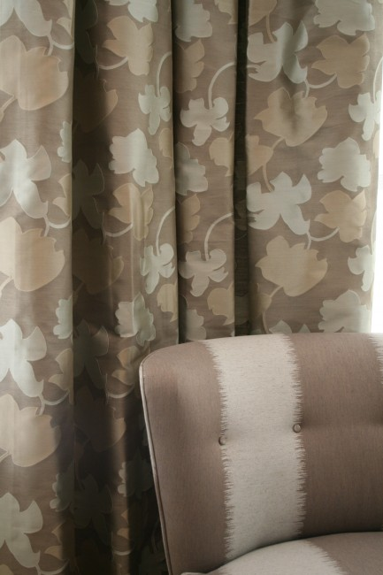 DETAIL:  Drapery and chair fabric by Calvin Klein through Kravet