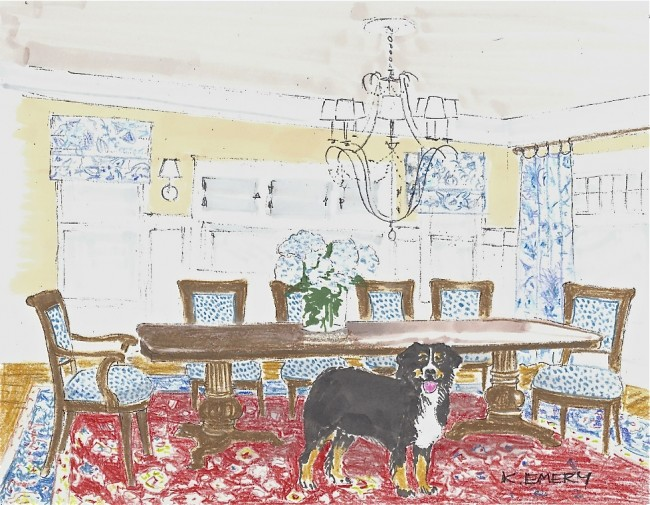 Kathia's color rendering of finished dining room