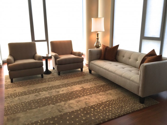 New condo partially furnished, with new rug, sofa, pair of chairs