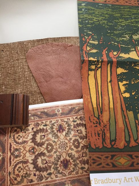 SAMPLES: Walls, upholstery fabric, leather, wood finish, wallpaper frieze